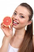 Beautiful girl with grapefruit, isolated on white