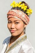 LAMPHUN, THAILAND - JANUARY 25, 2014. Portrait of an unidentified young woman in Lamphun, Thailand on January 25, 2014.