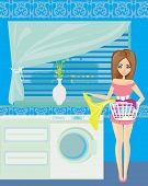 Housewife In Modern Blue Kitchen