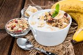 stock photo of yogurt  - Portion of fresh homemade Banana Yogurt  - JPG