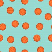 Sports seamless pattern with basketball icons in flat style.