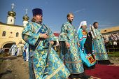 TIKHVIN, RUSSIA - JULY 9, 2014: Bishop Tikhvin and Lodeinopolskiy Mstislav celebrate Orthodox divine