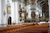 ST. GALLEN, SWITZERLAND - JULY 10, 2014: The Abbey of Saint Gall. The Roman Catholic Cathedral, in e