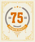 Retro card. Vintage anniversary message emblem.
