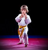 picture of aikido  - Little boy aikido fighter on black - JPG