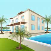 Building A Small Hotel With Sea And Palm Trees