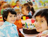Many children having fun at birthday party