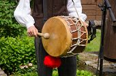 Drummer Play Folk Music With Drum And Stick