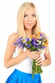 Young beautiful woman with flowers isolated on white