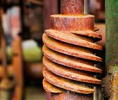 Old And Rusty Pinion Gear Of Machine In Factory