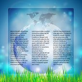 Blue Abstract background of globe with grass, template vector illustration for mass media