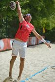 MOSCOW, RUSSIA - JULY 17, 2014: Yves Fornasier of Switzerland in the match with Cyprus during ITF Be