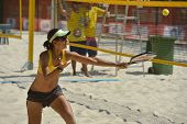MOSCOW, RUSSIA - JULY 16, 2014: Joana Cortez of Brazil on the training before the ITF Beach Tennis W