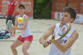 MOSCOW, RUSSIA - JULY 17, 2014: Mixed team Belgium in the match with Great Britain during ITF Beach Tennis World Team Championship. Belgium won the round 3-0