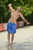 MOSCOW, RUSSIA - JULY 16, 2014: Rosen Nentchev of Bulgaria on the training before the ITF Beach Tenn