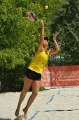 MOSCOW, RUSSIA - JULY 16, 2014: Samantha Barijan of Brazil on the training before the ITF Beach Tenn