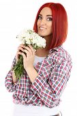 Beautiful young woman holding bouquet isolated on white