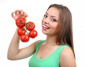 Beautiful girl with tomato, isolated on white