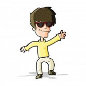 cartoon waving cool guy