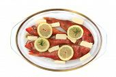Raw Redfishes With Lemon Isolated