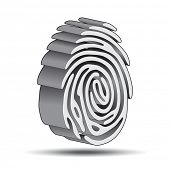 finger print 3D logo with shadow