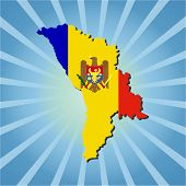 Moldova map flag on blue sunburst illustration