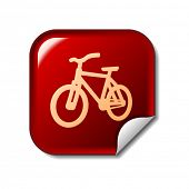 Bike icon on red web sticker
