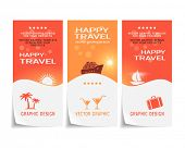 Travel banner, poster, sticker, flyer, ticket design