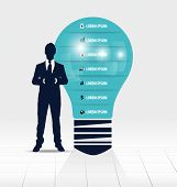 Businessman showing light bulb with Infographic design template. Vector illustration.