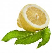 Fresh half lemon with mint leaves isolated on white background