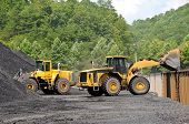 picture of nonrenewable  - Large End Loaders loading a Stock Pile of Coal into Rail Cars - JPG