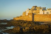 View of old part town Essaouira at sunset, Morocco. Unesco World Heritage site.