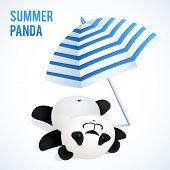 Little cute panda taking sunbath under blue umbrella