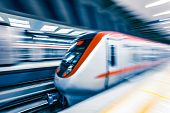 picture of high-speed train  - Moving train in subway station - JPG