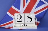 Vintage Style White Block Calendar For 28 July, Start Of World War I, Centenary, 1914 To 2014, With