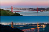 Golden Gate Bridge in San Francisco in day and at night