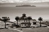Alcatraz Island in San Francisco over Pacific Ocean