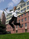 jump happy businesswoman poster