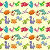 Group of funny dinosaurs with background. The sides repeat seamlessly for a possible packaging or gr