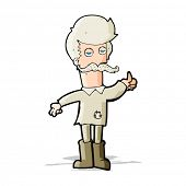 cartoon old man in poor clothes