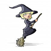 cartoon witch riding broomstick