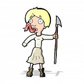 cartoon woman with spear sticking out tongue