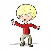 cartoon panicking boy