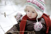 Little Baby Girl At Winter