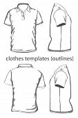 Men's polo-shirt design template (front, back and side view). Outline. Vector illustration.