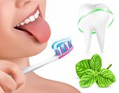 Dental concept. Kid brushing teeth. Tooth and fresh mint. Vector illustration.