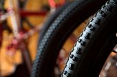 picture of dirt-bike  - close up image of Bike tires background  ** Note: Shallow depth of field ** Note: Visible grain at 100%, best at smaller sizes - JPG
