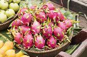 Pink Pitahaya Dragon Fruit In Basket