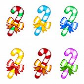 Coloruful candy canes with ribbon