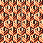 Hexagonal lines pattern. Abstract 3d background.  Vector illustration.